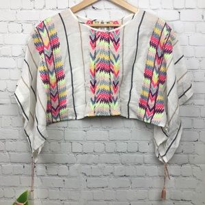 Free People Embroidered Striped Tassel Top Size S